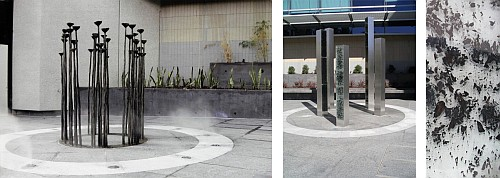 "größeres Bild im neuen Fenster. Fig. 6: Fig. 6: Fiona Foley, Witnessing to Silence, 2004, bronze, water feature, pavement stone, laminated ash and stainless steel; printed in: Foley, Fiona, 2012. ""The Elephant in the Room – Public Art in Brisbane"". Artlink, 32 (2) 67 and [19]"