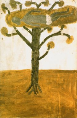 "Plate 2: Hector Jandany (c. 1924-2006), ""The Dead Christ in the Tree,"" undated, natural ochre and pigments on canvas, 92 x 60 cm; printed in: Crumlin, R. and Knight A. (eds.), Aboriginal Art and Spirituality, Collins Dove, Melbourne 1991, p. 39"