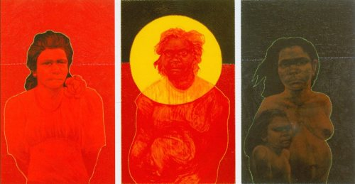 "Plate 9: Julie Dowling (*1969), ""Minority Rites I, II, III,"" 2003, acrylic, blood, red ochre and plastic on canvas (triptych), 80 x 50 cm each; printed in: Flinders University City Gallery (ed.), Holy, Holy, Holy, Flinders University City Gallery, Adelaide 2004, p. 75"