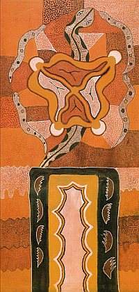 "Plate 4: Matthew Gill Tjupurrula (*c. 1960), ""Motherhood,"" 1982, acrylic on canvas, 240 x 119 cm; printed in: Crumlin, R. and Knight A. (eds.), Aboriginal Art and Spirituality, Collins Dove, Melbourne 1991, p. 58"