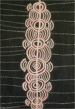 größeres Bild im neuen Fenster. Abb. 9: Mick Namarari Tjapaltjarri, Yam Travelling in the Sandhills, 1971, Acryl auf Holz, 51,4 x 35,9 cm, abgedruckt in Benjamin, Roger und Weislogel, Andrew C. (Hg.): Icons of the Desert: Early Aboriginal Paintings from Papunya, Herbert F. Johnson Museum of Art, Cornell University, New York 2009, S. 94